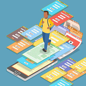 Is your landing page putting visitors in a navigation maze? Graphic shows a man running across an array of landing pages.