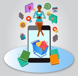 Make sure to use filters to narrow search results. Graphic shows a woman sitting on a mobile device displaying a shopping cart surrounded by symbols of ecommerce: a location icon, emojis, a lock icon, money, and a gift among various other items.