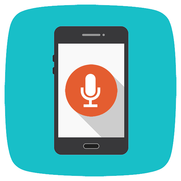 Voice search is an SEO trend that will continue to grow in 2021. Mobile device with a microphone on the screen.