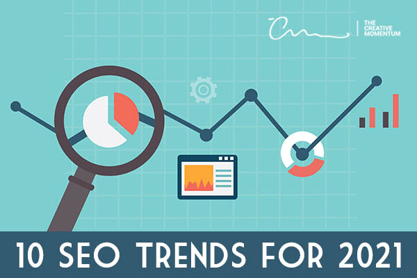 SEO trends for 2021 are changing; here are ten strategies you should follow. Magnifying glass, pie chart, image + caption in browser
