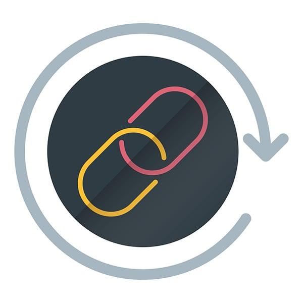 Внутреннее и внешнее SEO - обратные ссылки остаются одним из наиболее важных факторов ранжирования для стратегии внешнего SEO.  Стрелка кружит вокруг изображения ссылки