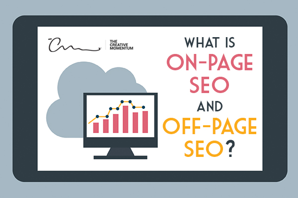 Both on-page and off-page SEO are essential for effective website strategy and marketing. A cloud behind a monitor displaying a bar graph.