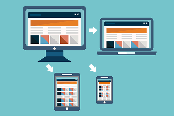 Web design and SEO - Designing for mobile is a must-have SEO strategy. A desktop design is shown on a tablet, laptop, phone.
