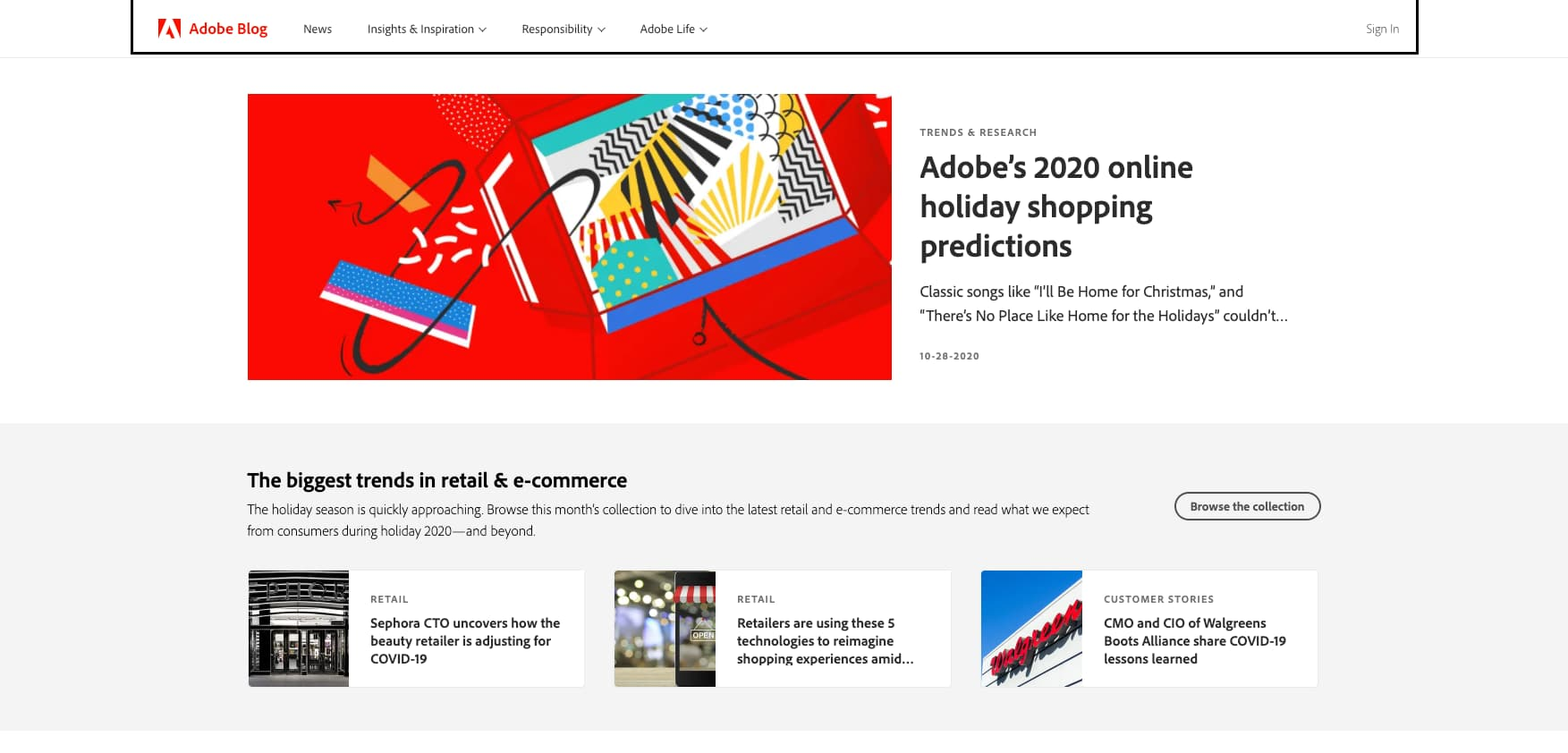 For an example of great blog layout design, check out Adobe's blog. It features a header story and the first row of the grid is above the fold.