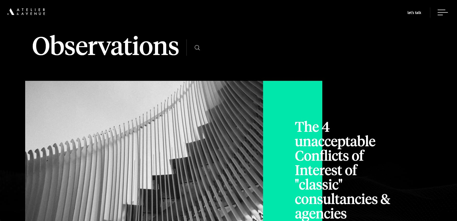 Atelier and Avenues blog is unconventional but still exhibits great blog layout design principles including grid layout and clean fonts.