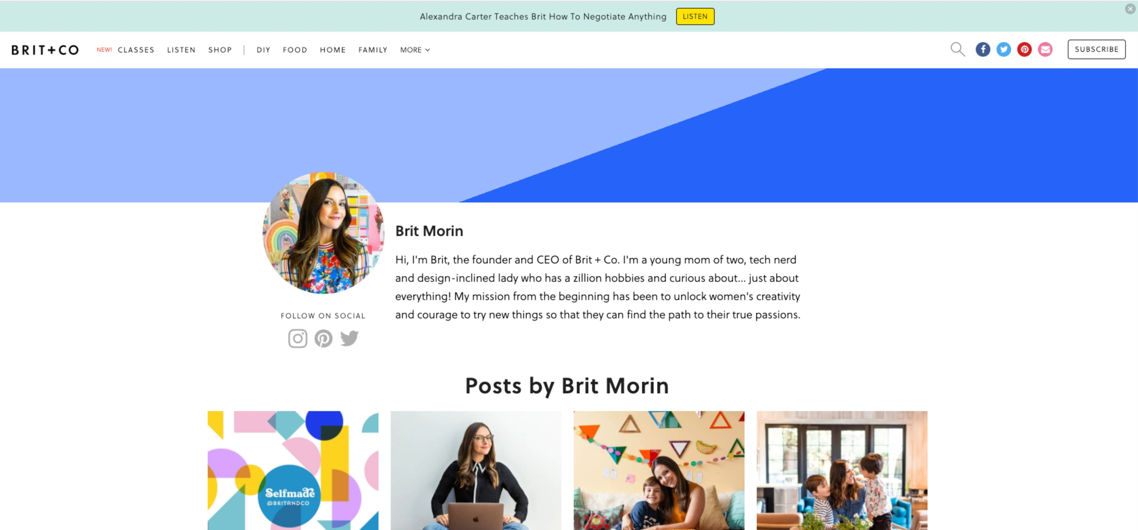 Brit & Co blogs layout is great example of good design. It uses a simple grid layout, relevant tags and titles, and vivid imagery.