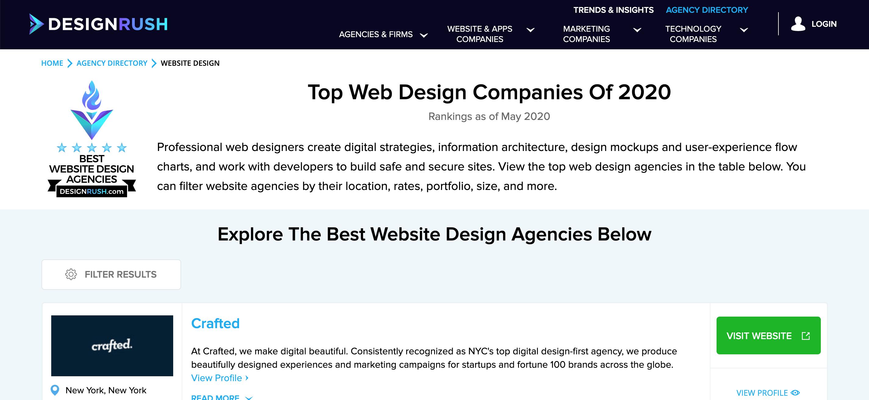 DesignRush's Website Design & Development Agency listing