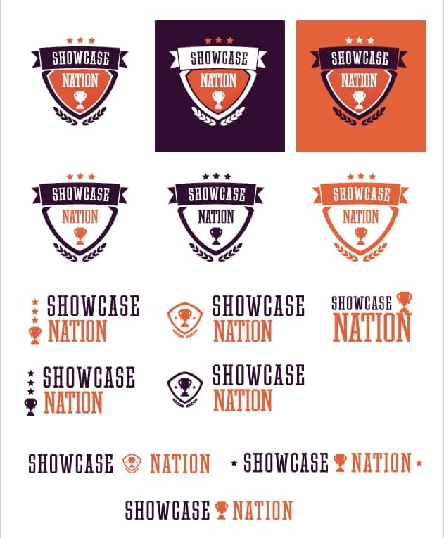 Web design agencies create different logo options for clients to choose from. Here are logo options for Showcase Nation.