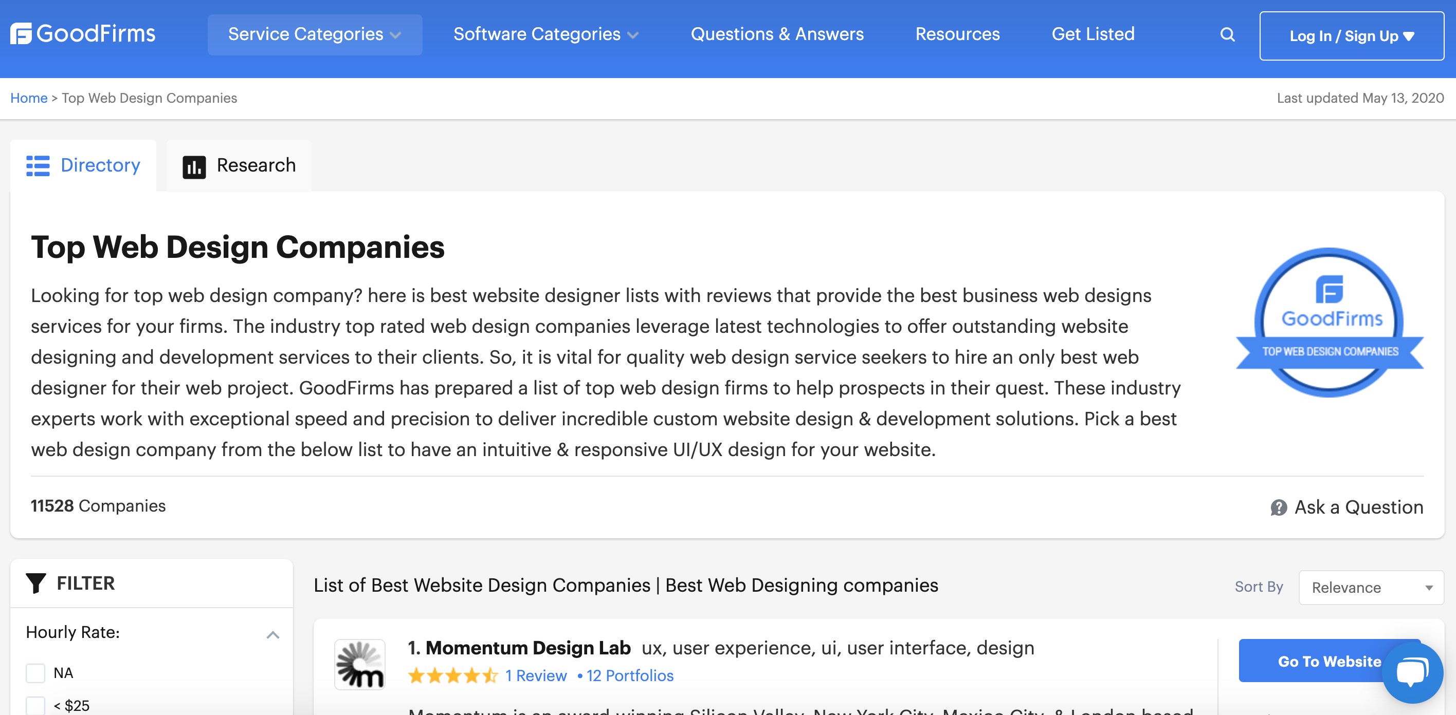 GoodFirms Top Web Design Companies Listing
