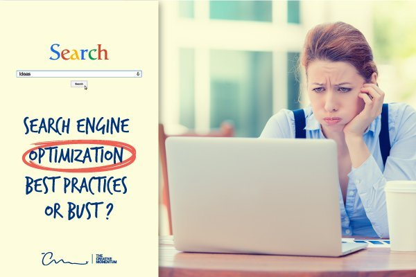 Is there such a thing as SEO best practices? A lady looks flustered while looking at a computer screen.