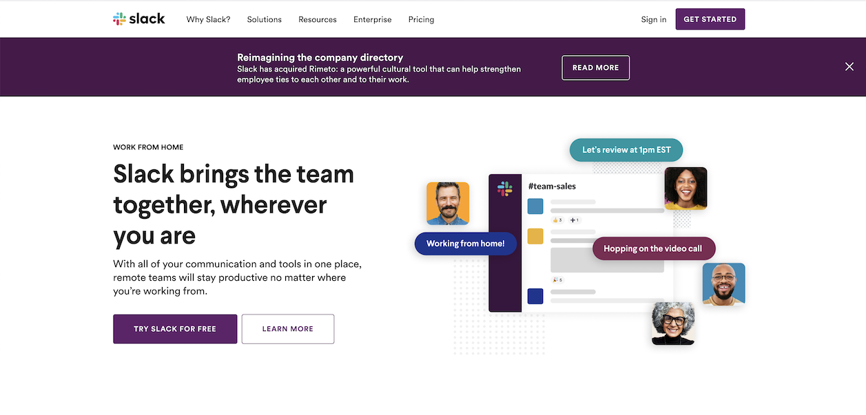 "Include free demos, trials and plenty of CTAs in your website design if you sell SaaS. Slack's  homepage features two CTAS ""Try Slack for Free,"" and ""Learn More."""