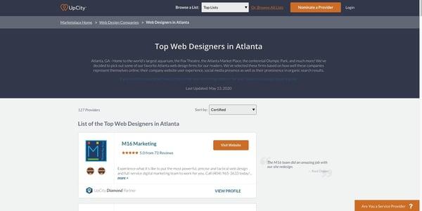 UpCity's Top 25 Web Design Agencies in Atlanta listing