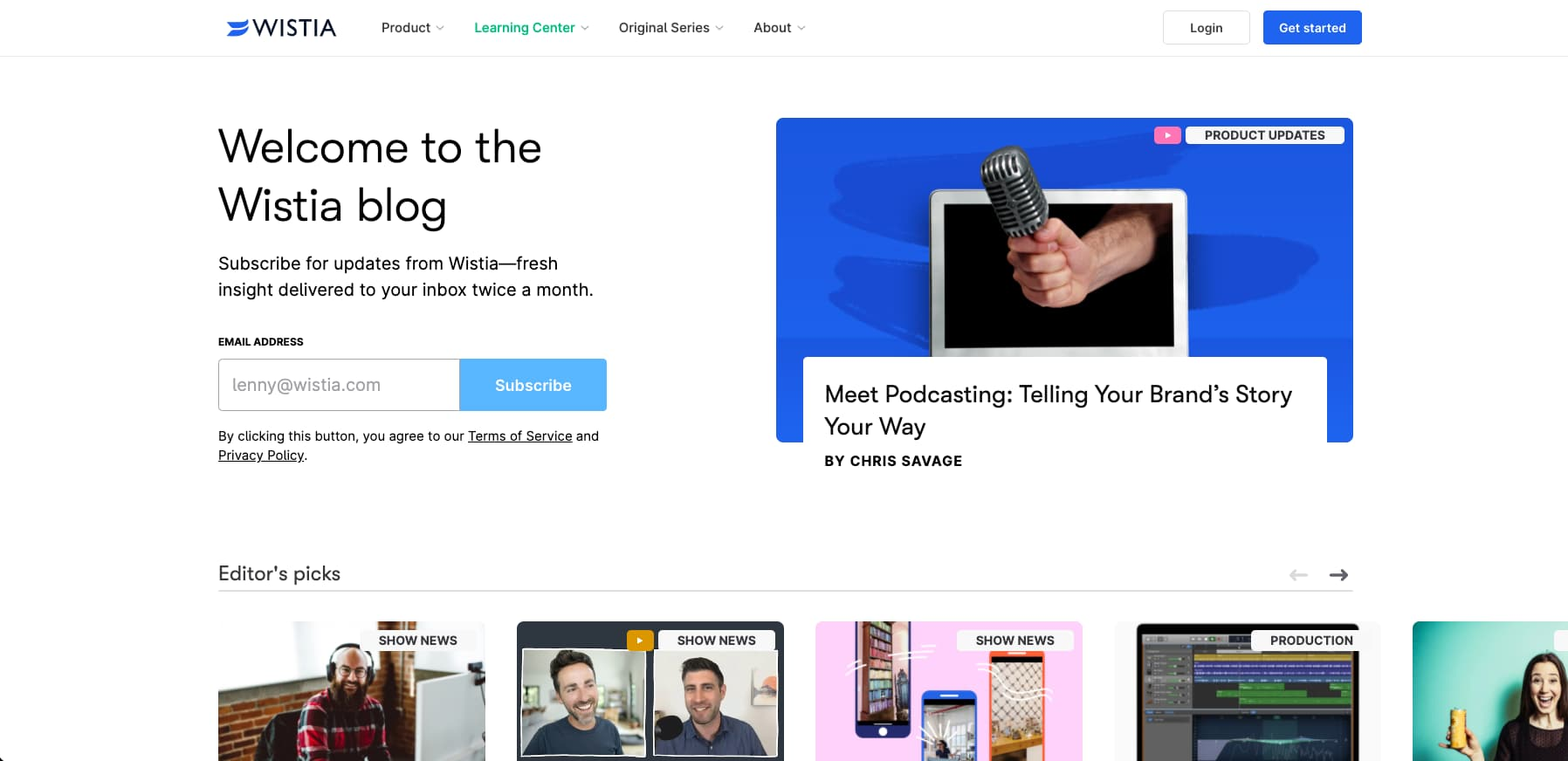 Wistia has has a great blog layout design with a variety of design blocks, clean fonts, negative space and a focus on vivid imagery