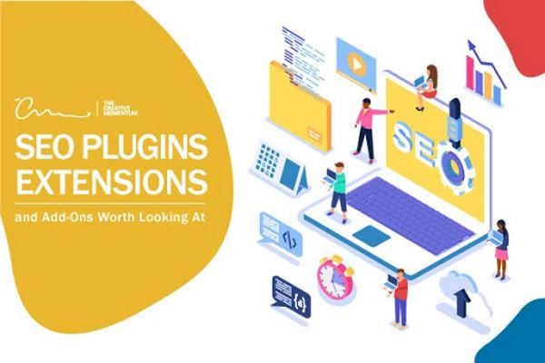 """Here are our picks of the best SEO plugins and extensions. Graphics include laptop that says, """"SEO"""" on the screen, people, other common digital icons"""