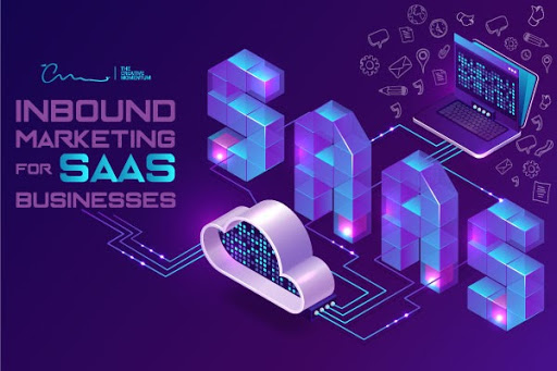 SaaS businesses can educate and convert prospects using inbound marketing. SAAS written as large, purple, 3D text, computer connects to a cloud icon with circuits.