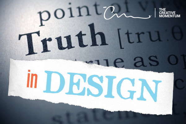 """How web developers support truth using website design. """"In Design"""" on torn our paper over """"Truth"""" in dictionary in background."""