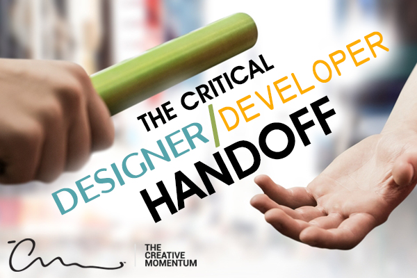 For the best web design and ui/ux, web designers and developers need to work closely together. A relay baton is handed off.
