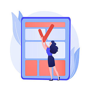 Content is one of the most powerful website storytelling tools. [graphic] A women holds a large red check up to a large screen displaying content containers.