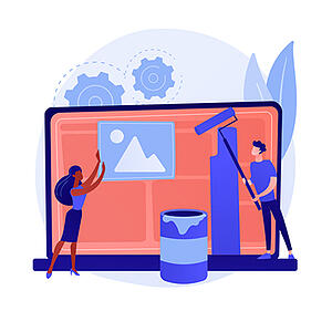 """Optimize your design layout to tell your company story. [graphic] A man and lady """"design"""" a screen layout, one holds an image container, the other holds a paint roller."""