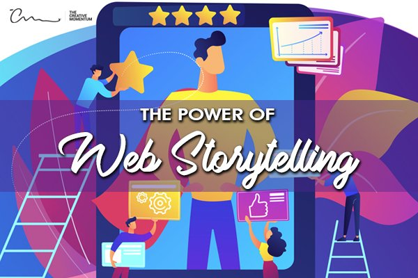 How can storytelling enhance your website? [graphic] Star, gear and thumbs up icons surround a superhero on a tablet screen.