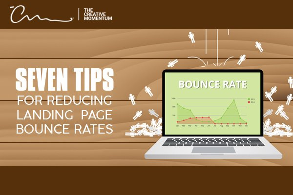 "Reduce your page bounce rates with these 7 tips. [graphic] People ""raining"" on a laptop and bouncing off."