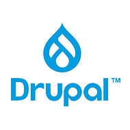 """Drupal is a free and open-source CMS that is one of the most popular on the web. Drupal logo - blue, """"Drupal"""" with a drop."""