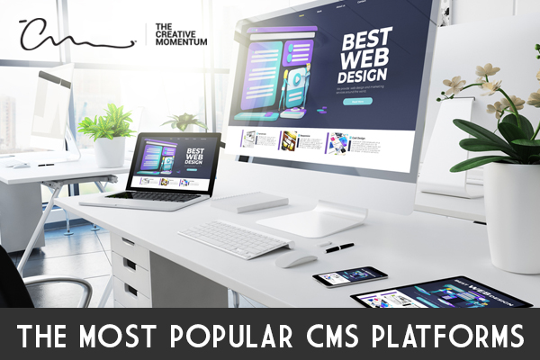 An Overview of the Most Popular CMS Platforms. Digital devices sit on two desks: two iMacs, a Macbook, a phone and a tablet.