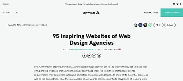 [screen capture] awwwards.com home page. The site showcases and grants prestigious awards for the best in web design.