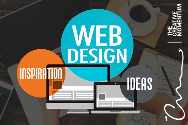 "Here are seven websites for web design inspiration. A monitor and a laptop are surrounded by word bubbles ""Web Design,"" ""Inspiration,"" and ""Ideas."""