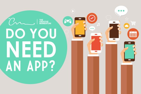 Do you need an app? Benefits and Drawbacks. [graphic] Four arms hold cell phones surrounded by app icons.