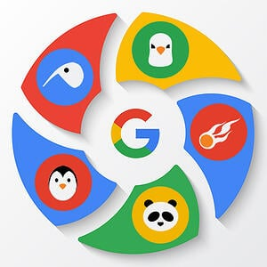 "The zoo of Google's algorithm updates. A pinwheel design shows the Google ""G"" logo in center, surrounded by six sections each picturing an animal or image associated with an important Google update: Pigeon, Hummingbird, Penguin, Panda and a Flaming ball that symbolizes the mobilegeddon update."