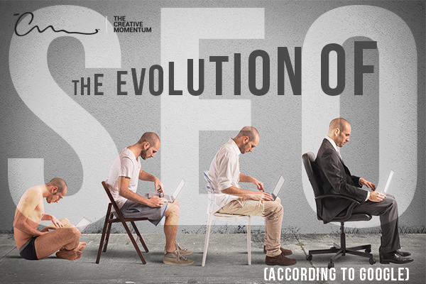 How has Google's search algorithm evolved over the years?  Four men sit in a progressive line, L-to-R, facing right all looking at laptops. The first is in underwear, cross-legged on the floor. The second sits in a folding chair in casual shorts and tee. Third sites in a plastic chair in slacks and dress shirt. Fourth sits in a swivel chair in a suite.