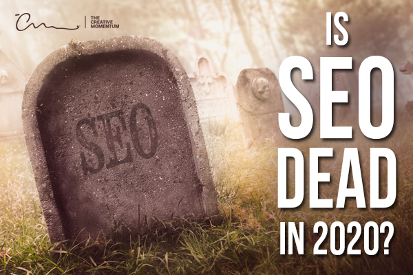 """Is SEO Dead in 2020?  """"SEO"""" is inscribed on a gravestone sticking out of the grass."""