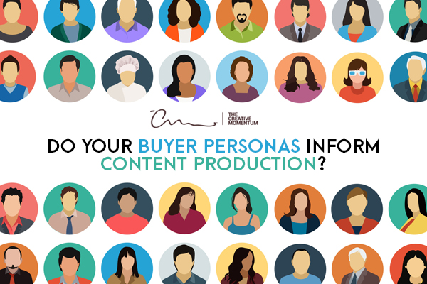 Buyer personas are essential considerations when producing content. Rows and columns of avatars graphics.