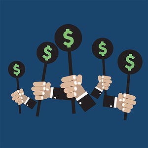 PPC strategy - You might be bidding on ad space, but are you bidding smart? [graphic] Hands holding auction paddles inscribed with a dollar sign.