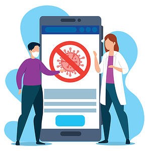 App use is up 20 percent in the first quarter of 2020. Two people on either side of a giant smartphone that features a coronavirus cell inside a circle with a slash.