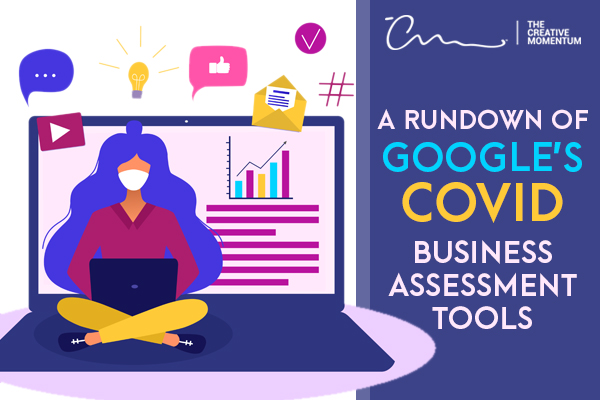 "A Rundown of Google Ads' COVID-19 Resources and Updates. Graphic of a woman wearing a mask sits cross-legged on her laptop surrounded by digital icons (chat, play button, ""like,"" etc.)"