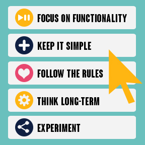 Website micro interactions tips - focus on functionality, keep it simple, follow the rules, think long-term and experiment.