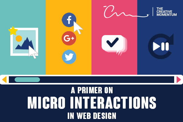 A primer on micro interactions in web design. [graphic] Cursors hover over website icons - image, social media, chat bubble, video play button