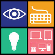 Graphics have a big impact on website ADA-compliance. [graphics] eye, keyboard, lightbulb, digital devices.