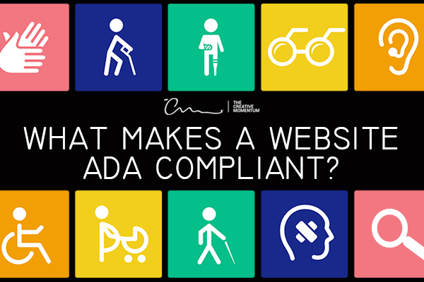 What makes a website ADA compliant? Icons - glasses, ear with hearing aid and people with accessibility challenges - cane, prosthetic leg, pregnancy, wheelchair, etc.