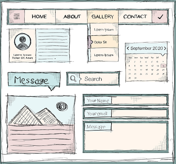 Certain website elements are common because they convert website visitors. [drawing] Website elements - horizontal nav bar, search bar, form, etc.