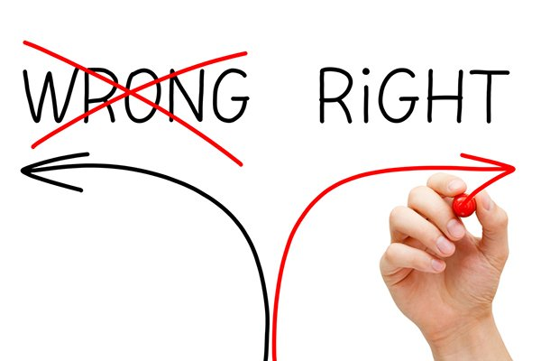 """There are right and wrong ways to achieve ethical social media marketing. """"Wrong"""" - crossed out - over arrow pointing left, """"right"""" over arrow pointing right."""