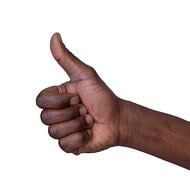 Good examples of ethical social media marketing deserve a thumbs up. A hand displays the thumbs up sign.