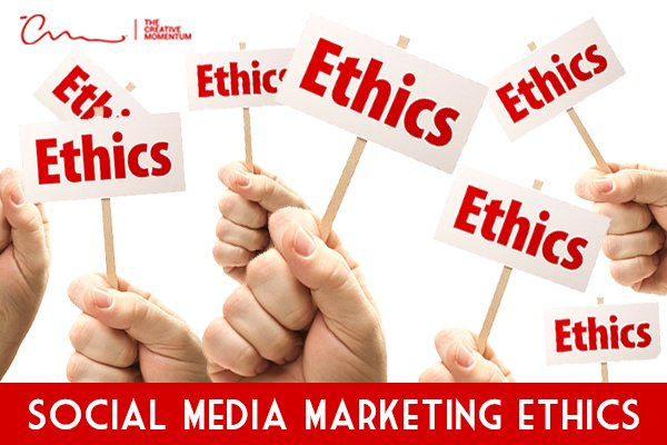 """Ethics are an important part of social media marketing strategy. Read more below. Hands holding signs saying, """"Ethics."""""""