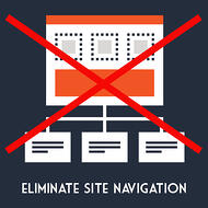 "Site navigation can be a detriment to your ecommerce landing page goals. Red ""X"" over a sitemap."