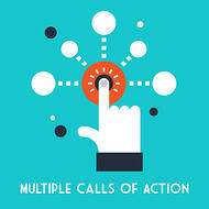 Multiple calls to action is an effective strategy for ecommerce landing page design. Hand pushing a button.