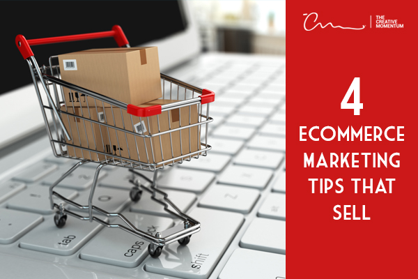 Want to improve your ecommerce conversions? Use these tips. Miniature shopping cart with boxes sits on top of a keyword.