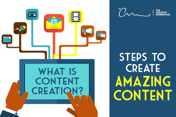 What is Content Creation - Follow these steps to creating amazing content. Hands hold a tablet devise.