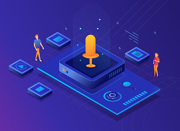 Voice search SEO means figuring out how customers think and speak about you. A large microphone surrounded by people and various digital icons.